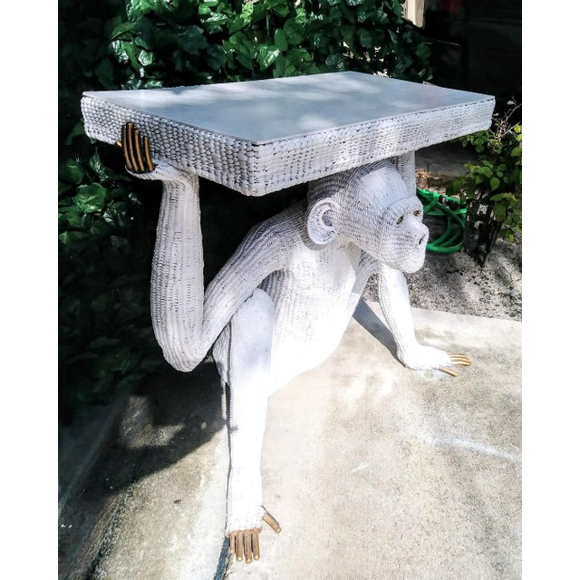 Mario Torres Lopez Vintage Extra Large White Wicker Monkey Hall Console Table For Sale In West Palm - Image 6 of 13