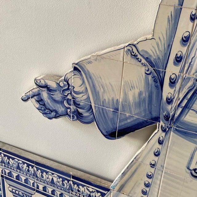 Figurative 19th Century Portuguese Blue and White Glazed Figural Azulejo For Sale - Image 3 of 8