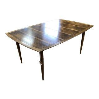 Mid-Century Modern Banded Walnut Dining Table For Sale
