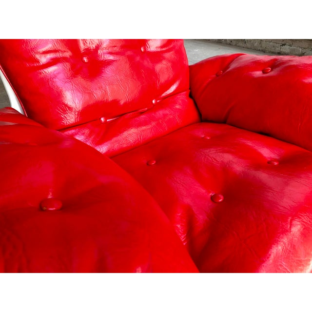 Mid Century Modern Space Age Red Leather Swivel Lounge Chair Molded Plastic Decorion Futorian Italian Style Vintage MCM For Sale - Image 9 of 11