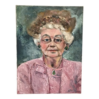 Portrait of Woman in Pink Dress For Sale