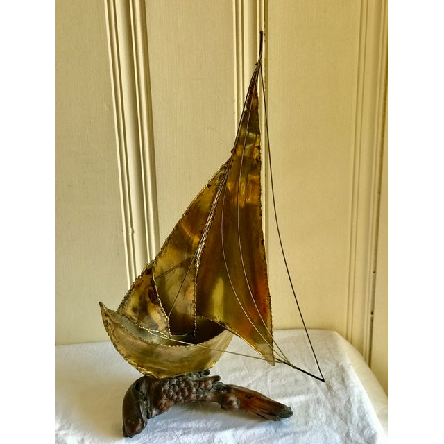 Mid-Century Sailboat on Driftwood Sculpture - Image 3 of 11
