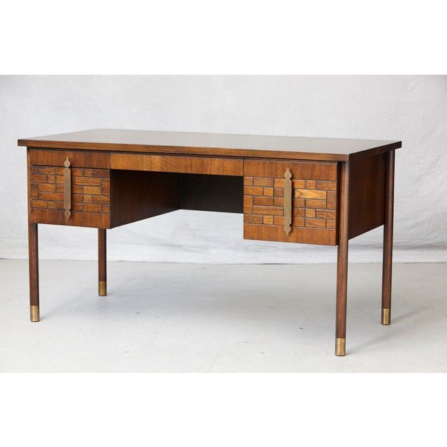 Mid 20th Century Walnut Desk With Graphic Wood Work and Brass Hardware, 1970s For Sale - Image 5 of 12