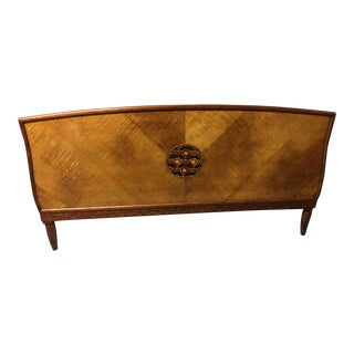 Early Pre-Art Nouveau Hand Made Marquetry Curly Maple Full Headboard For Sale