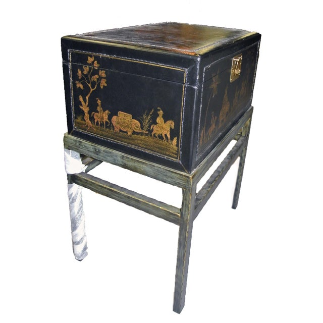 1990s 1990s Chinoiserie Chairside Box Side Table For Sale - Image 5 of 9