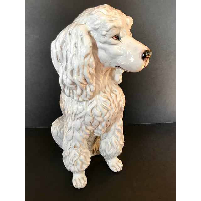 White Vintage Italian Mid-Century Ceramic Poodle Figurine For Sale - Image 8 of 9