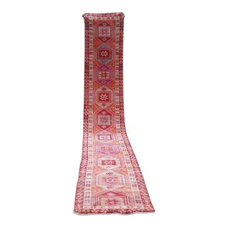 Long Gallery Turkish Runner With Geometric Tribal Medallions, Vintage Mid Century Rug With Pink, Green and Orange Colors 2.5 X 13.7 Ft For Sale