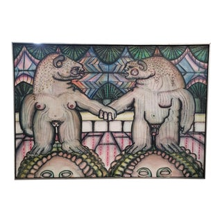 Surrealist Lovers Painting by Martin James LaBorde For Sale