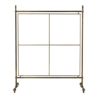 Vintage French Brass Standing Screen For Sale