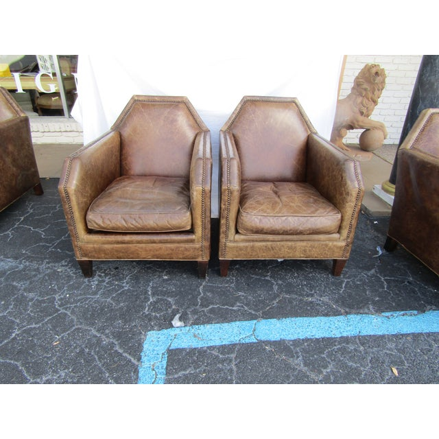 1980s Vintage Italian Leather Accent Chairs - A Pair For Sale In West Palm - Image 6 of 6