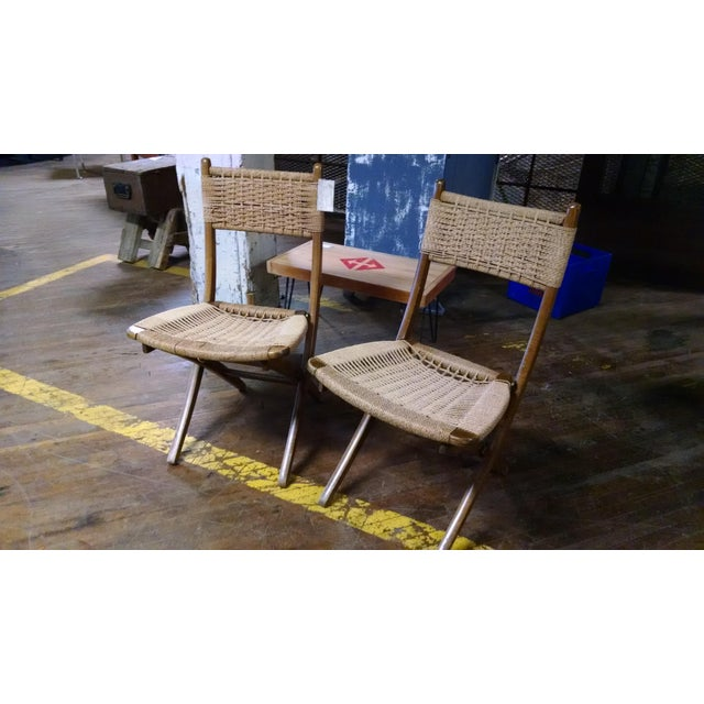 Danish-Style Folding Accent Chairs - A Pair - Image 2 of 6