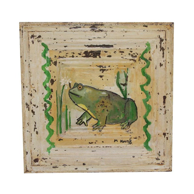Mladen Novak Acrylic Frog Painting on Antique Tin Panel For Sale - Image 6 of 6