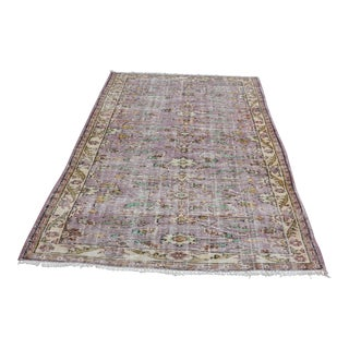Modern Turkish Oushak Handwoven Purple and Yellow Wool Floral Rug