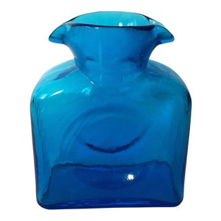 Vtg Mid Century Modern Cobalt Blenko Water Pitcher Vase For Sale