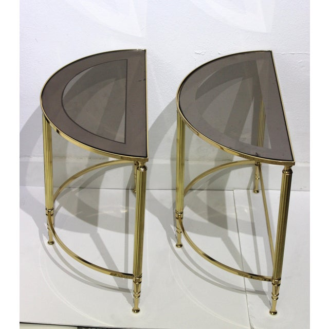 Mid-Century Modern Mid-Century Modern Demi-Lune Drinks or Side Tables Brass and Smoked Glass - a Pair For Sale - Image 3 of 13