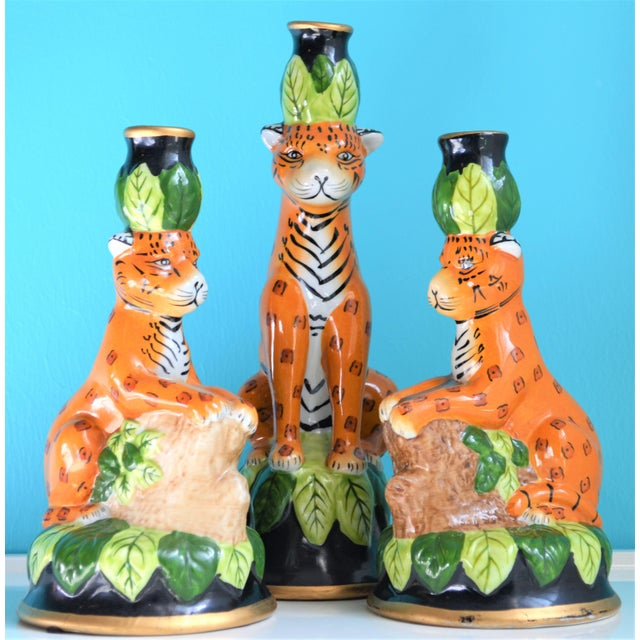 This is a whimsical and unique set of leopard ceramic candle holders. They were produced in the 90's and are hand painted...