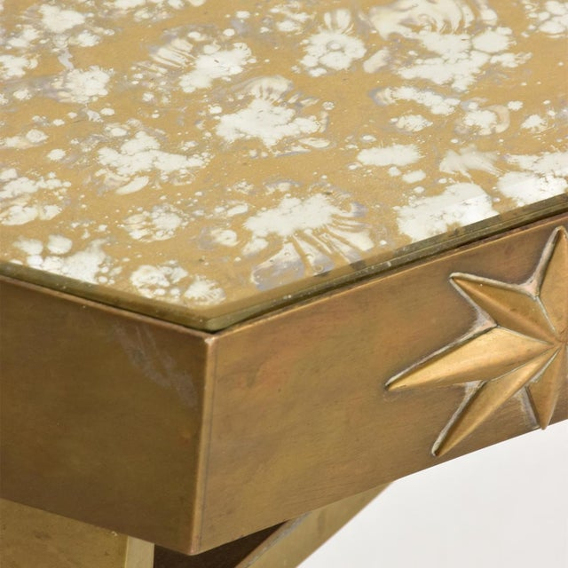 Arturo Pani Mid-Century Mexican Modernist Star Brass Wall Console Table For Sale - Image 9 of 10