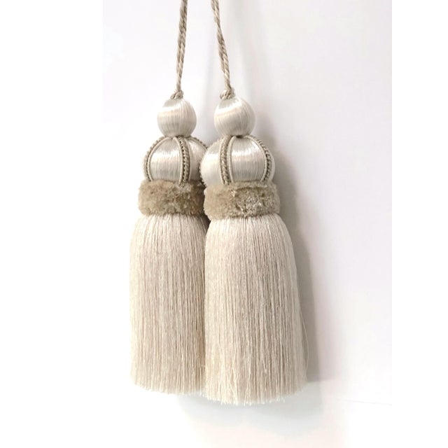 Ivory Key Tassel W Cut Velvet Ruche For Sale - Image 10 of 13