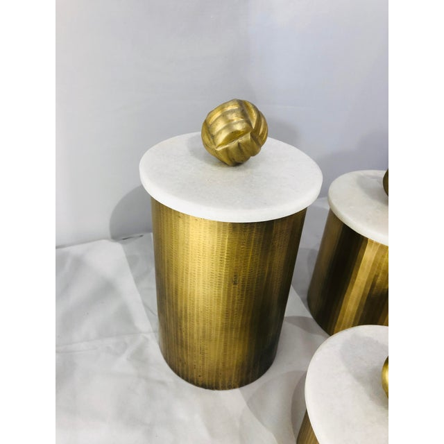 Contemporary Brass Canisters With Marble Lids - Set of 3 For Sale - Image 3 of 9