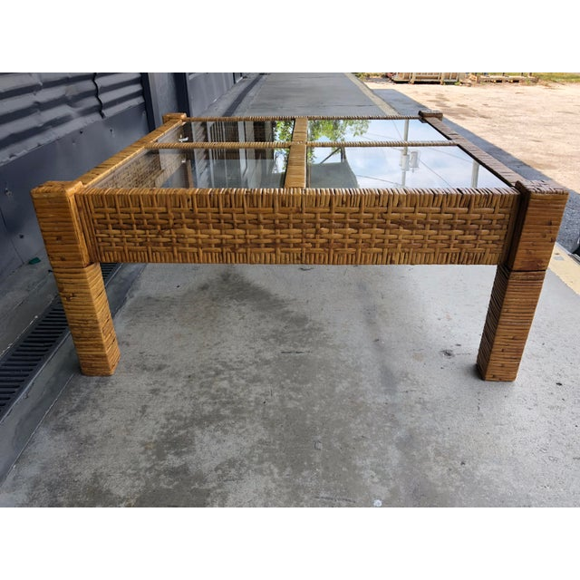 Vintage Wrapped Rattan Billy Baldwin Style Coffee Table For Sale - Image 11 of 13