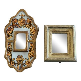 Vintage Miniature Framed Mirrors - a Pair For Sale