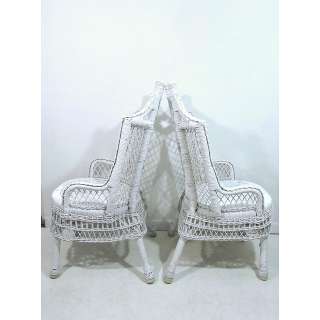 Boho Chic Vintage White Wicker and Cane High Back Conservatory Armchairs - a Pair For Sale - Image 3 of 7