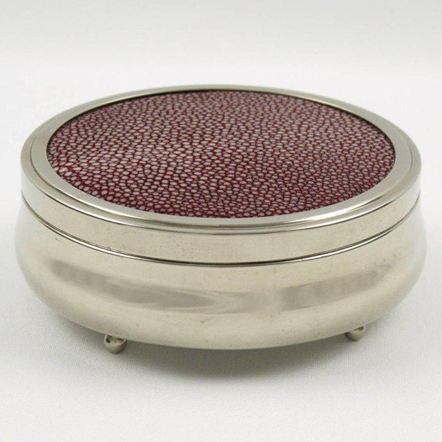 Art Deco French Art Deco Covered Round Box Chrome and Red Shagreen For Sale - Image 3 of 4