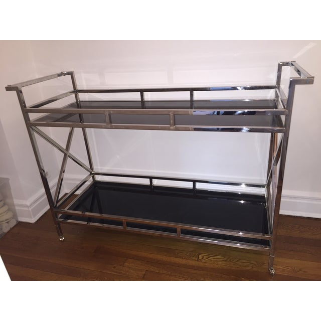 Silver and Black Glass Contemporary Console Table - Image 2 of 5