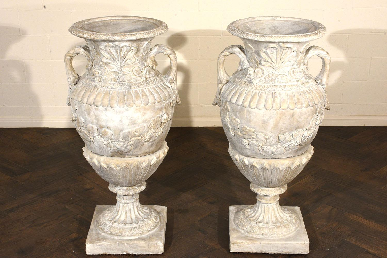 Pair Of Grand Neoclassical Style Patio Urns   Image 4 Of 10