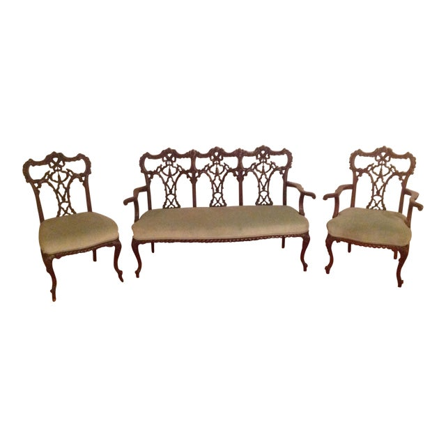 Chippendale Settee and King and Queen Chairs - Set of 3 - Image 1 of 11