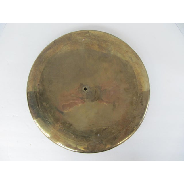 Brass Large Round Vintage Brass Tray For Sale - Image 7 of 8