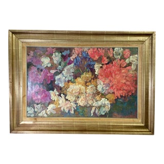 Early 20th Century Antique Piet Mondrian Rhododendron New York Graphic Society Textured Print on Canvas For Sale