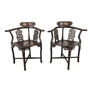 Vintage Chinese Rosewood Mother of Pearl Inlay Corner Chairs - Pair For Sale