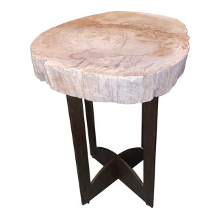 Modern Stone Top End Table For Sale