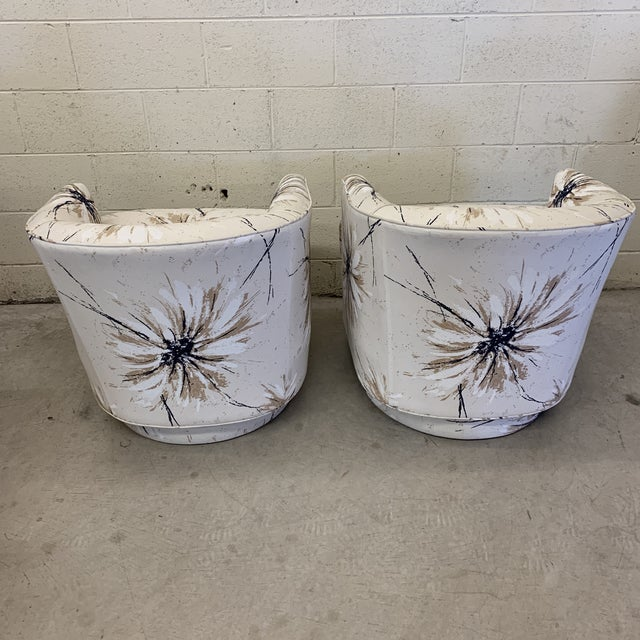 Milo Baughman Style Swivel Chairs - a Pair For Sale - Image 4 of 12