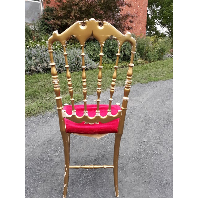 Vintage Italian Chiavari Chair in Gold Over Wood For Sale - Image 6 of 12