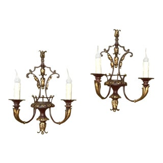 Pair Antique Wrought Iron Painted Sconces For Sale