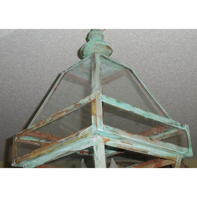 Four Sides Architectural Hanging Copper Lantern - Image 7 of 11