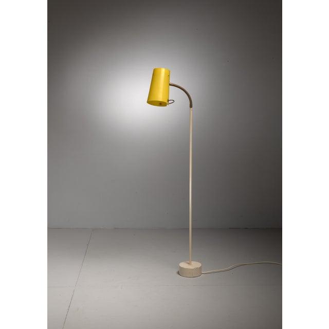 Scandinavian Modern Floor Lamp with Yellow Plexiglass Adjustable Shade, 1950s - Image 6 of 6