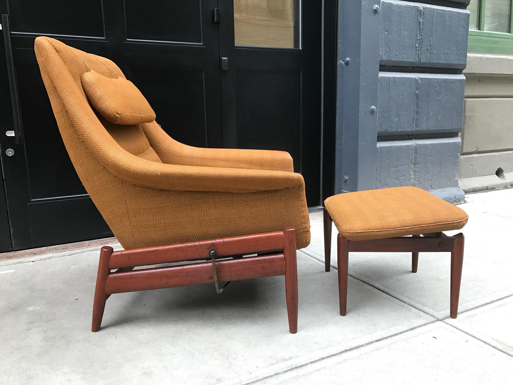 Charmant Povl Dinesen Danish Modern Lounge Chair And Ottoman   Image 2 Of 4
