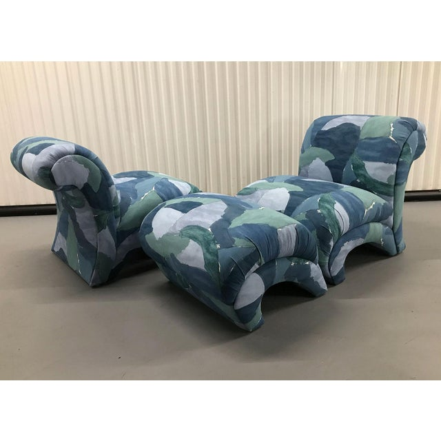 1980s Chairs and Ottoman Upholstered in 'Watercolor' Abstract Fabric For Sale - Image 4 of 10