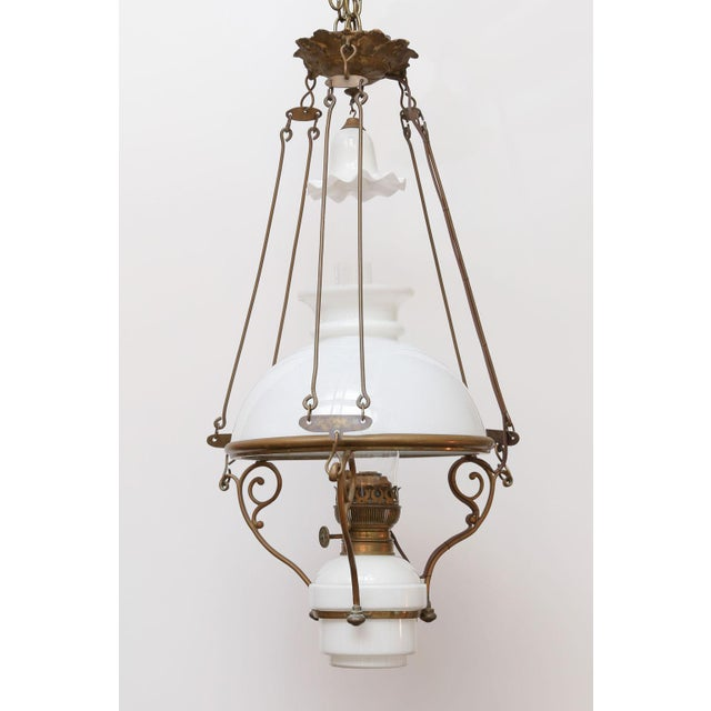 Antique French Milk Glass Hall Lantern For Sale - Image 11 of 11