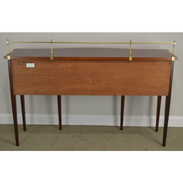 Metal Ethan Allen 18th Century Collection Mahogany Inlaid Hepplewhite Style Sideboard For Sale - Image 7 of 13