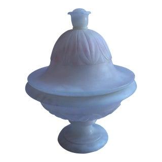 White & Pink Alabaster Pedestal Bowl For Sale