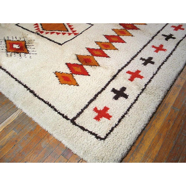 Islamic Ivory Moroccan Patterned Rug - 6′8″ × 10′ For Sale - Image 3 of 4