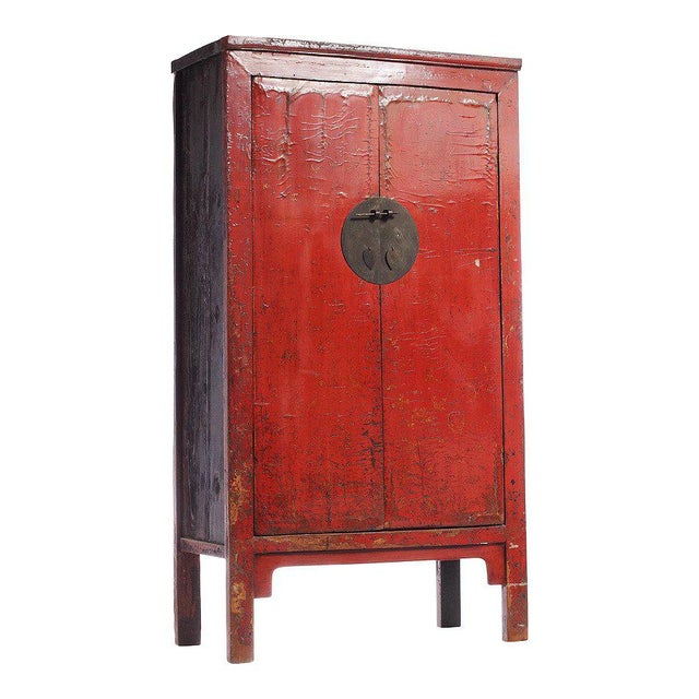 Mid 19th Century 19th Century Chinese Large Red Lacquered Armoire with Iron Hardware For Sale - Image 5 of 7