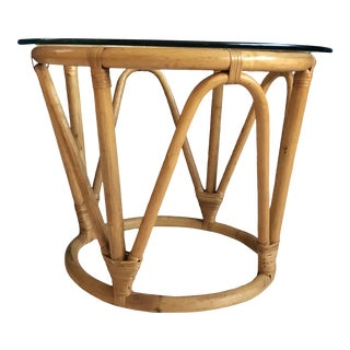20th Century Boho Chic Rattan and Glass Side Table For Sale