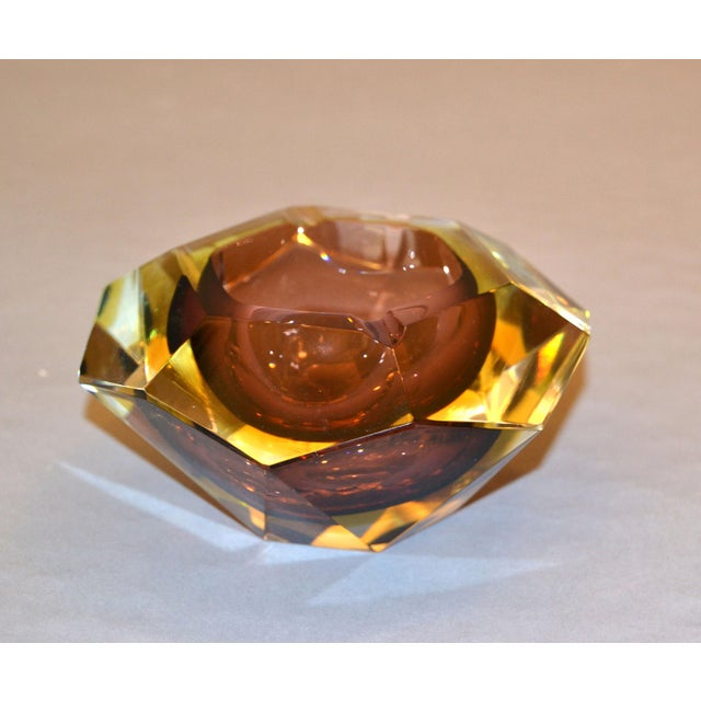 Signed Multi Faceted Murano Glass Ashtray Attributed to Flavio Poli, Italy For Sale - Image 12 of 12