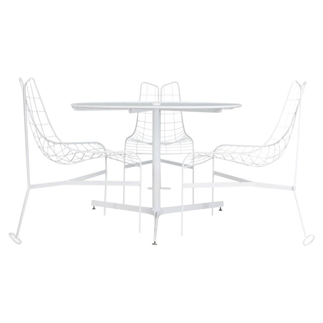"""1985 Vladimir Kagan """"Capricorn"""" Outdoor Dining Chairs and Table, Restored For Sale"""