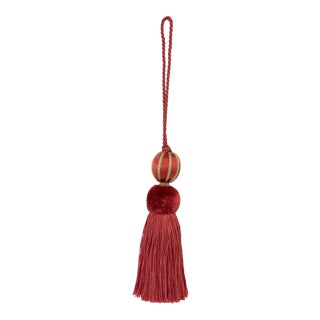 "Merrivale Red & Olive Beaded Key Tassel - H 4.75"" For Sale"